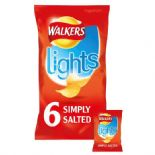Walkers Lights Simply Salted Crisps 6 x 25g